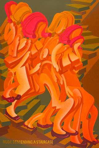 Peter Saul (born 1934) Nude Descending a Staircase, 1977 90 1/2 x 60 1/2in. (229.9 x 153.7cm)