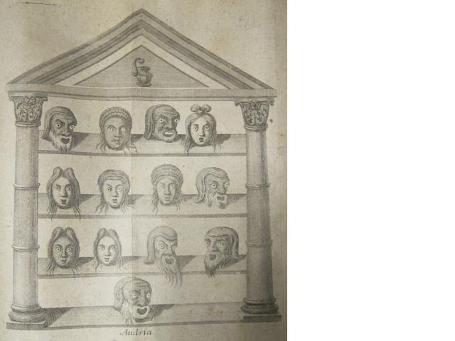 THEATER—CLASSICAL. BERGER, CHRISTOPH HEINRICH VON. 1687-1737. Commentatio de personis, vulgo larvis seu mascheris. Frankfurt & Leipzig: G. M. Knock, [1723].<BR />