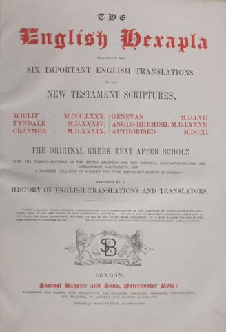 BIBLE—NEW TESTAMENT IN ENGLISH. The English Hexapla, Exhibiting the Six Important English Translations of the New Testament Scriptures. London: Bagster, [1841].