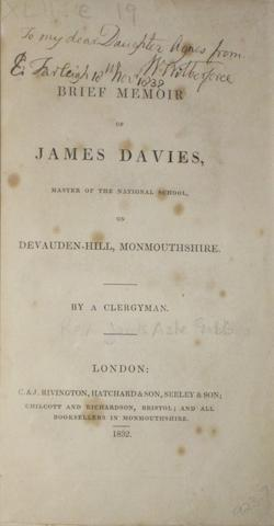 [WILBERFORCE, WILLIAM. 1759-1833.] [GABB, JAMES ASHE.] A Brief Memoir of James Davis, Master of the National School, on Devauden-Hill, Monmouthshire. By a Clergyman. London: C. & J. Rivington, 1832.