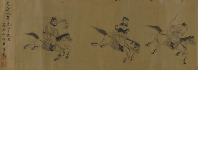 Attributed to Sun Kehong (ca.1533-1611), Bodhidharma Crossing the  Yangzi on a Reed, Ink and color on paper, hanging scroll and After Zhao Zhongmu (1289-1362), Horses and grooms, ink on paper,  horizontal scroll