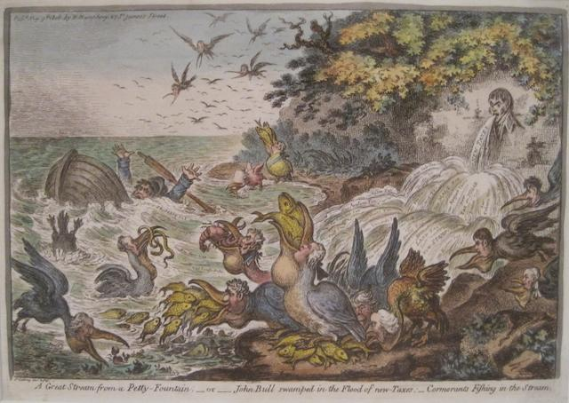 GILLRAY, JAMES. 1757-1815. A Great Stream from a Petty-Fountain. [London]: H. Humphrey, 1808.