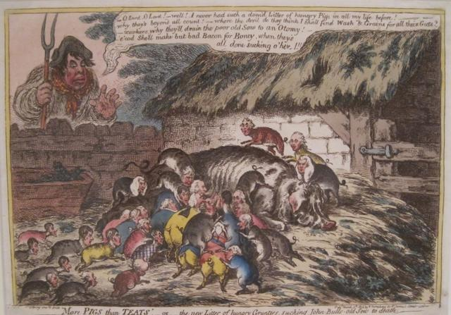 GILLRAY, JAMES. 1757-1815. 2 hand-colored etchings:  1. More Pigs than Teats. London: H. Humphrey, 1806.