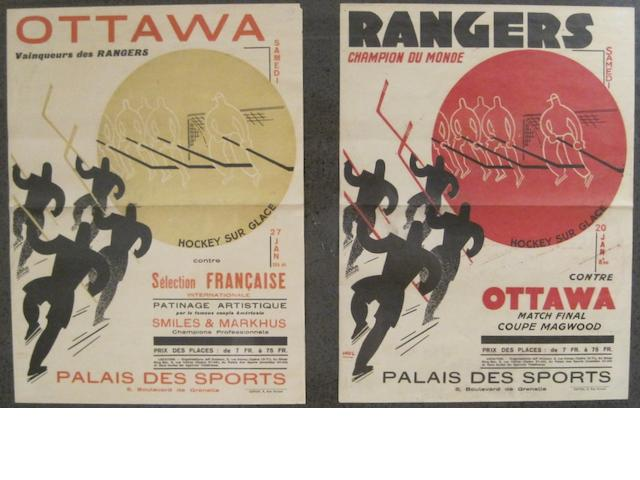 ICE HOCKEY. 2 posters for ice hockey: Ottawa, vainqueurs des Rangers ... contre Sélection française internationale. * Rangers, champion du monde ... contre Ottawa match final coupe Magwood. [Paris: 1930s.]