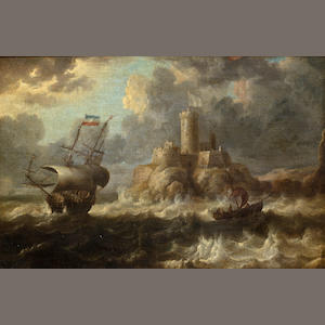 Bonaventura Peeters the Elder (FLEMISH, 1614-1652: Maritime Scene. oil on canvas. 11 x 16 1/2 inches