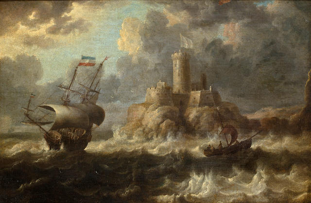 Bonaventura Peeters the Elder (Antwerp 1614-1652 Hoboken) Shipping off the coast with a castle in the distance 11 x 16-1/2 in. (27.9 x 41.9 cm.)