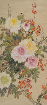 Chen Zhifu (1896-1962) Peonies and Peach Blossoms, hanging scroll, ink and color on paper