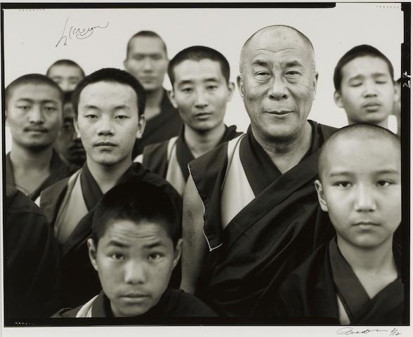 Richard Avedon (1923-2004) His Holiness, the Fourteenth Dalai Lama, Gyume Tantric Monastery Karnataka, India, January 1998 image 18 1/4 x 23in. (46.3 x 58.4 cm)<BR />sheet 20 x 24in. (50.8 x 60.9 cm)