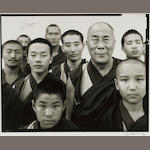Richard Avedon (1923-2004) His Holiness, the Fourteenth Dalai Lama, Gyume Tantric Monastery Karnataka, India, January 1998 image 18 1/4 x 23in. (46.3 x 58.4 cm)<BR />sheet 20 x 24in. (50.8 x 60.9 cm)