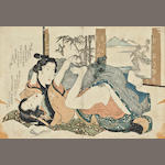 Three Japanese erotic Shunga woodblock prints