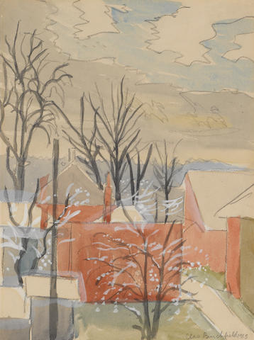 Charles Burchfield (American, 1893-1967) Snow flurries in November, 1915 12 x 9in