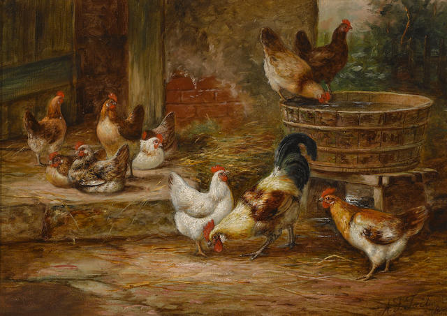 Arthur Fitzwilliam Tait (American, 1819-1905) Barnyard fowl 10 x 14in