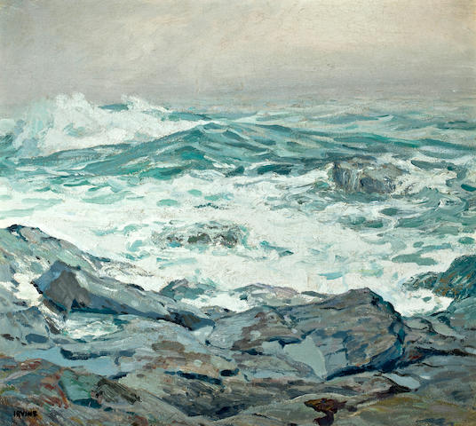 Wilson Henry Irvine (American, 1869-1936) Seascape 24 1/4 x 27 1/4in