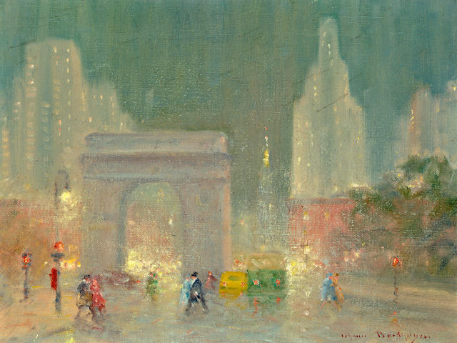 Johann Berthelsen (American, 1883-1972) Washington Square Park  12 x 16in