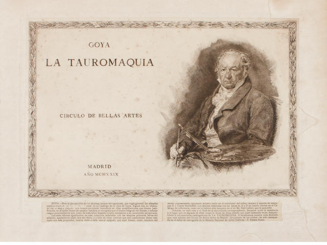 Francisco José de Goya y Lucientes (Spanish, 1746-1828); Frontispiece and 33 plates, from Tauromaquia; (34)