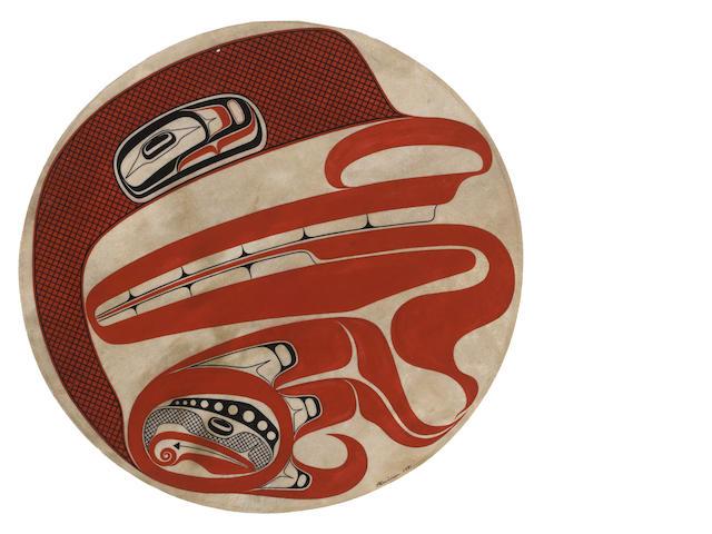 A Haida painted drumhead