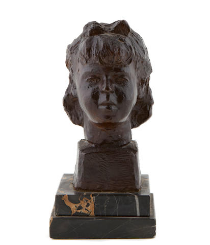 Chaim Gross (American, 1904-1991) Untitled (bust of a girl), 1941 height 9in