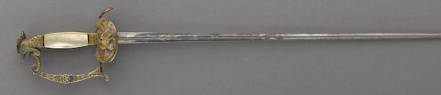 An English gilt silver hilted small sword