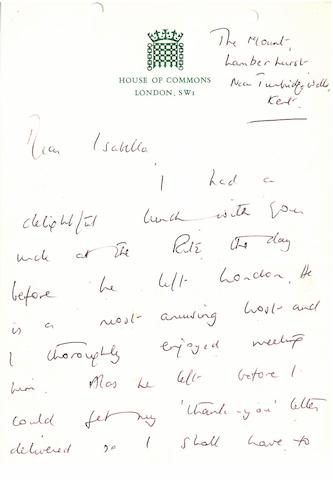 "THATCHER, MARGARET.  B. 1925. Autograph Letter Signed (""Margaret Thatcher""), 6 pp recto and verso, 8vo, Lamberhurst, near Tunbridge Wells, Kent, n.d. [but 1970s], to Isabella Horton Grant,"