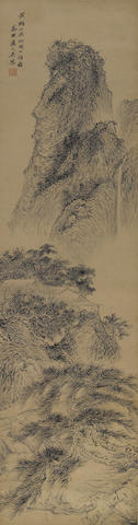 After Wu Shantao (1624-1710) Landscape, ink and color on paper, hanging scroll and Attributed to Wu Li (1632-1718 ), Landscape, ink on paper,  hanging scroll