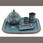A Chinese cloisonné five piece smoking set
