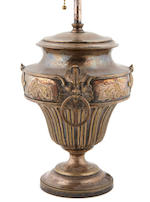 A pair of silvered brass urn-form lamps 20th century