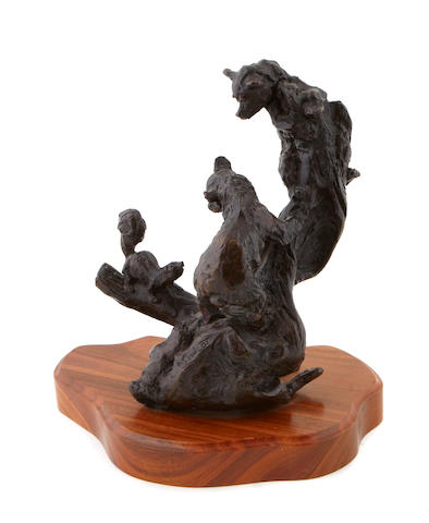 Gary Schildt (American, born 1938) Bears and squirrel bronze Two bear cubs playing with a squirrel height: 10in (11 3/4in including base)