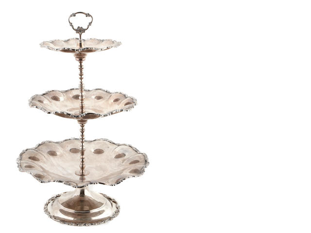 A Mexican  sterling silver  three-tier cake stand Marked Plateria F.M.,  mid-20th century