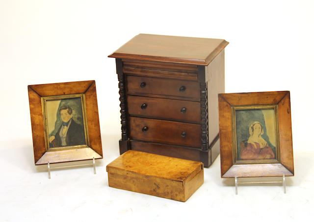 A Victorian mahogany miniature chest of four drawers, pair of portrait miniatures and a Karelian birch box second half 19th century