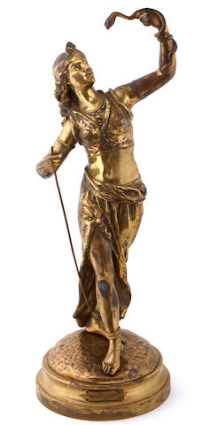 A French gilt bronze figure: Charmeuse de Serpents