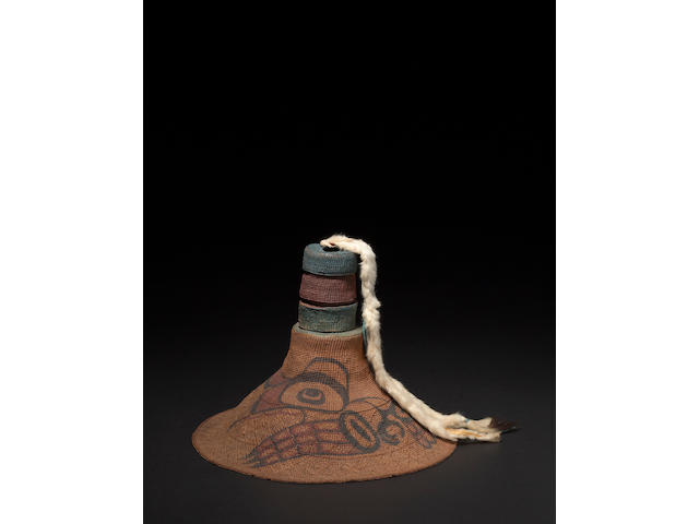 A Tlingit painted basketry hat