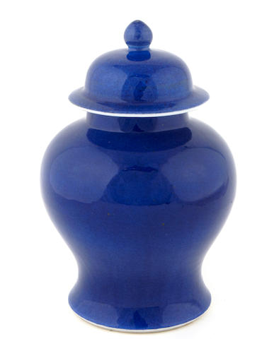 A sky blue glazed porcelain covered jar