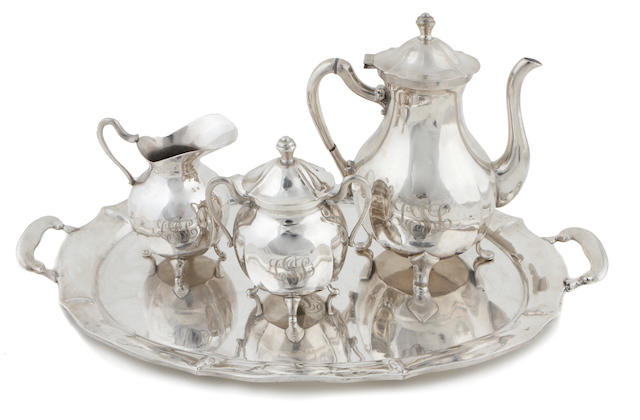 A Mexican sterling silver four piece coffee service