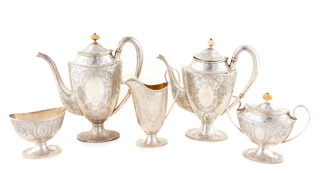 An American sterling silver five piece tea and coffee service Barbour Silver Company, Wallingford, CT, early 20th century