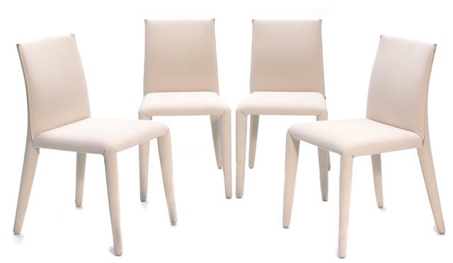 A set of six Mario Bellini upholstered Vol au Vent dining chairs
