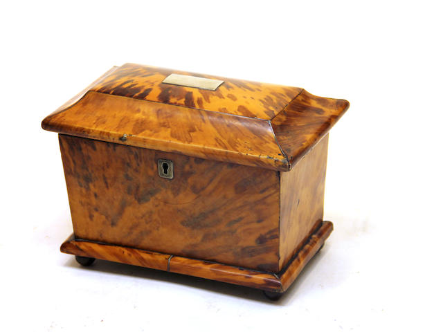 A George III blond tortoiseshell tea caddy early 19th century