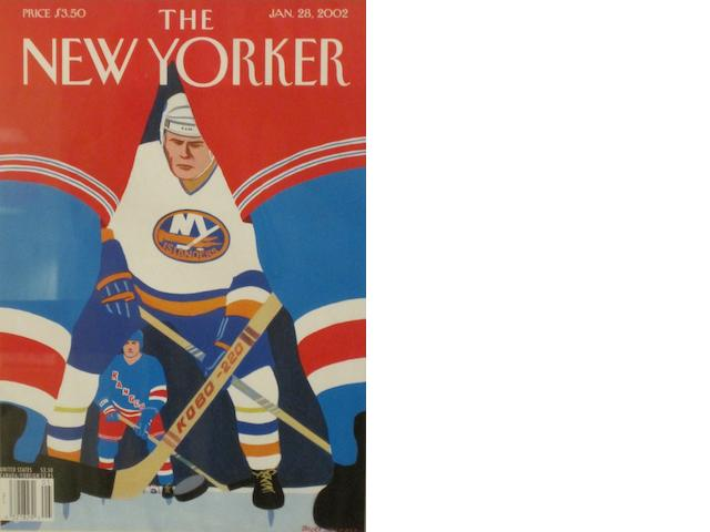 NEW YORKER. A group of 10 New Yorker covers from 1927 onwards, on the theme of hockey and ice-skating,