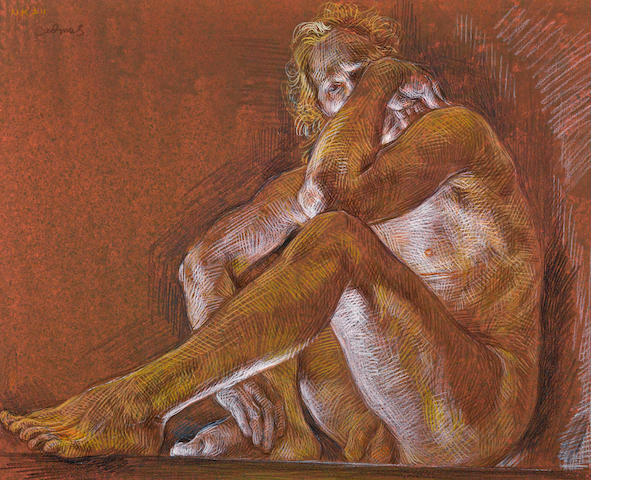 Paul Cadmus (American, 1904-1999) Male nude, 1988 sight: 14 3/4 x 18 1/4in