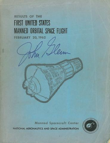 FIRST US MANNED ORBITAL FLIGHT—SIGNED. Results of the First United States Manned Orbital Space Flight, February 20, 1962. [Houston]: MSC, [1962].