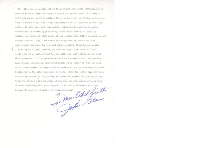 "SEVEN MILES OF WIRE—AND A SWIZZLE STICK. GLENN, JOHN. Typed Manuscript Signed (""John Glenn"") and Inscribed (""For Mrs Ethel Smith""),"