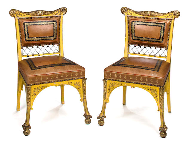 A pair of American Aesthetic parcel-gilt and later painted side chairs<BR />Attributed to Herter Brothers, New York, circa 1880