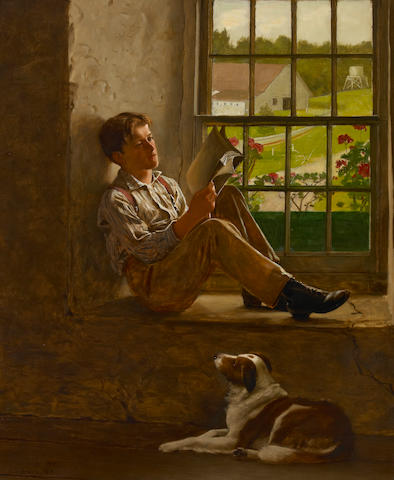 John George Brown, The Study Hour, 1905, Oil on canvas, 30 x 25 inches (76.2 x 63.5 cm)