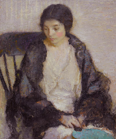 Lilian Westcott Hale (American, 1881-1963) Lady with a blue fan, 1916  30 x 25in