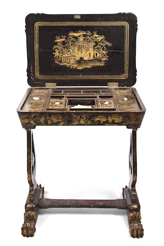 A Chinese Export gilt and paint decorated black lacquer work table second half 19th century