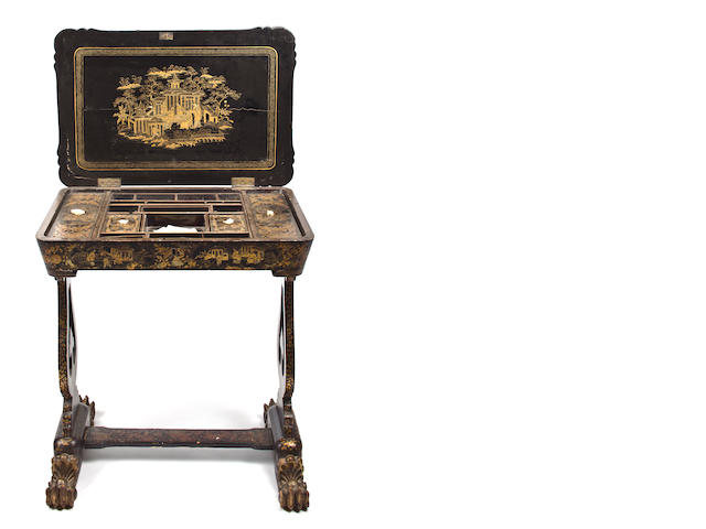 A Chinese Export black lacquer gilt and paint decorated work table, second half 19th century. height 27 3/4in. width 25in., depth 17in.