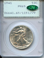 1941 PR65 PCGS 50C CAC