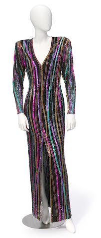 A Bob Mackie long multicolored beaded gown