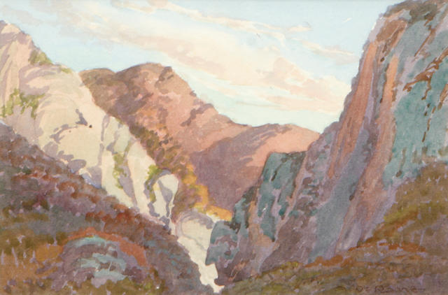 Albert Thomas DeRome (American, 1885-1959) Gaviota Pass, Looking into the Pass from Ocean side, 1917 5 1/2 x 8 1/2in