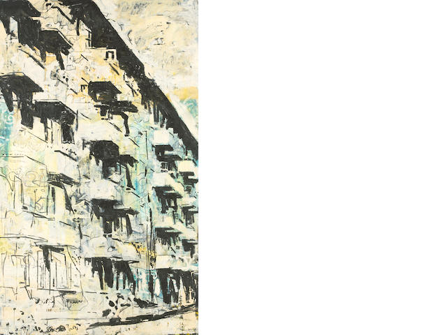 Roger Herman (German, born 1947) Building - Barcelona, White Condo, 1989 120 x 72in (304.8 x 182.9cm)