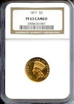 1871 $3 PR63 Cameo